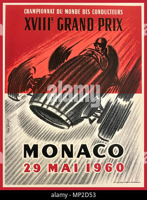 Vintage Poster 1960's MONACO Grand Prix  STIRLING MOSS The 1960 Monaco Grand Prix was a Formula One motor race held at Monaco on 29 May 1960 The race was won by Stirling Moss in a Lotus 18 entered by the R.R.C Walker Racing Team. It was the first World Championship F1 victory for the marque - Stock Photo