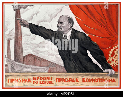 "LENIN Vintage 1900's Propaganda Poster Russian Soviet revolution Vladimir Lenin known for his oration skills Smokestacks chimneys representing an industrialized future, and red banner are common motifs in Soviet propaganda. (Valentin Shcherbakov, ""A Spectre Is Haunting Europe, the Spectre of Communism"") 1924 - Stock Photo"