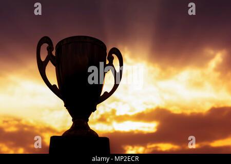 winner trophy on sky background