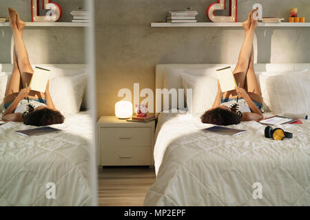 Woman Studying In Bed Doing Homework At Sunset - Stock Photo