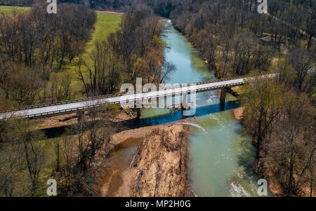 A drone image taken in Arkansas, USA - Stock Photo