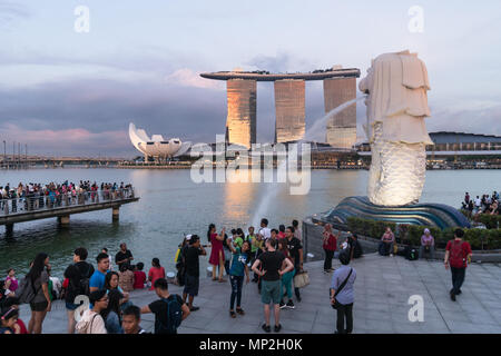 Singapore - May 13 2018: A large crowd of tourists take pictures and selfie in front of the Merlion fountain by the Marina Bay at sunset in Singapore  - Stock Photo