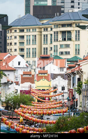 Singapore - April 23 2018: High angle view of the traiditional shophouses in  Singapore Chinatown in Southeast Asia. - Stock Photo