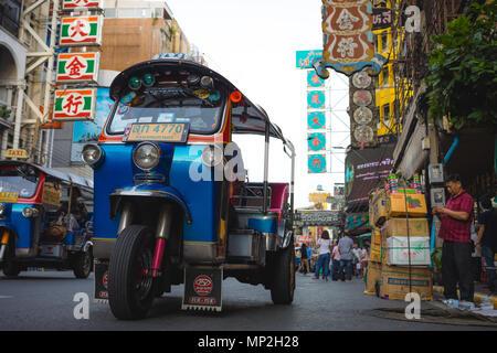 Chinatown , Bangkok , Thailand -May 18 , 2018: tuktuk taxi parked in Yaowarat road in Chinatown of Bangkok in day - Stock Photo