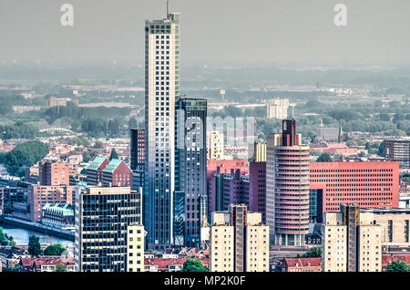 Rotterdam, The Netherlands, May 11, 2018: view from the city center towards the Southbank/Kop van Zuid, dominated by Maastoren, highest building in th - Stock Photo