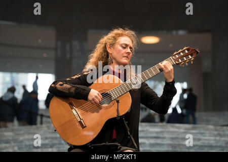 On May 17, 2018, Marija Temo  performed in the Winter Garden at Brookfield Place in Battery Park City as part of the New York Guitar Festival. - Stock Photo