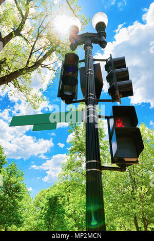 Traffic lights in Washington DC, USA. It is located near the National Mall on one of the main streets. - Stock Photo