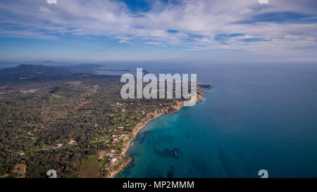 Aerial drone image of a bay and boats at North Corfu Greece.