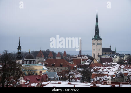 Aerial view of the medieval Tallinn old town and the Saint Olag church in Estonia capital city in winter by the Baltic sea in North East Europe - Stock Photo