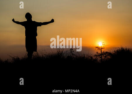 silhouette people showing hand with freedom and success in sun shine - Stock Photo