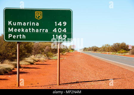 Great Northern Highway Distance Sign - Western Australia - Stock Photo