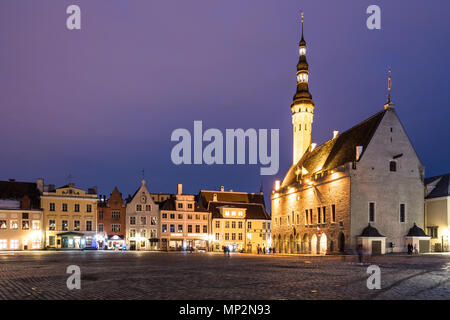 The Tallin gothic Town Hall building on the main old town square at night in Estonia capital city in winter. Tallinn is a popular travel destination i - Stock Photo