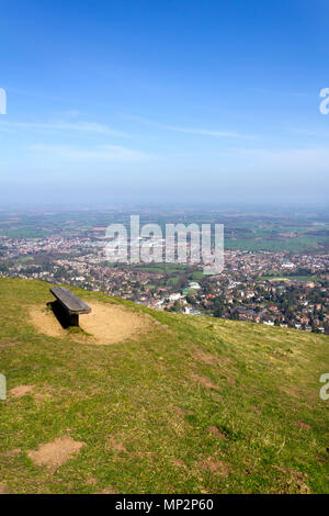 The panoramic view from Worcestershire Beacon, the highest point on the Malvern Hills, over the town and Worcestershire countryside below, Malvern, Worcestershire, UK - Stock Photo