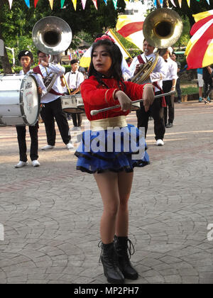 Manila, Philippines. 20th May, 2018. A lovely majorette, performs with her band. Credit: Josefiel Rivera/Pacific Press/Alamy Live News - Stock Photo