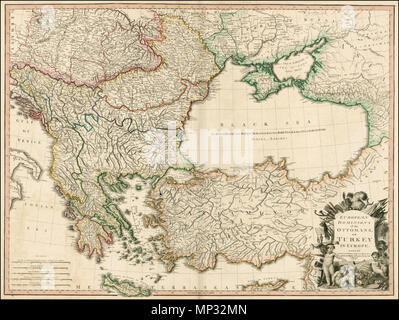 . English: European Dominions of the Ottomans or Turkey in Europe . . 1795. Large detailed Faden map of the region bounded by the Greece and the Ionian Sea, the Ukraine, the Gulf of Venice, Asia Minor and the northern coast of Cyprus. Extremely detailed. The map shows the Ottoman Empire, circa 1720 and includes and ornate decorative cartouche. This is the first state of the map. 1795.   William Faden (1749–1836)  Alternative names Faden & Jefferys  Description British cartographer and publisher  Date of birth/death circa 1750 21 March 1836  Location of birth London  Work location From 1771: - Stock Photo