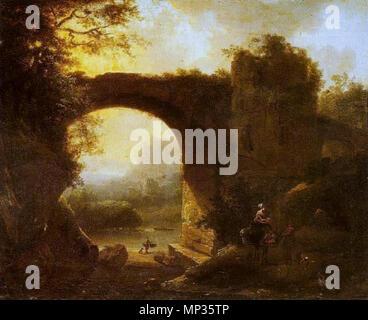 English: Sunset Português: Entardecer   18th century.   1122 Simon Mathurin Lantara - Entardecer - Stock Photo