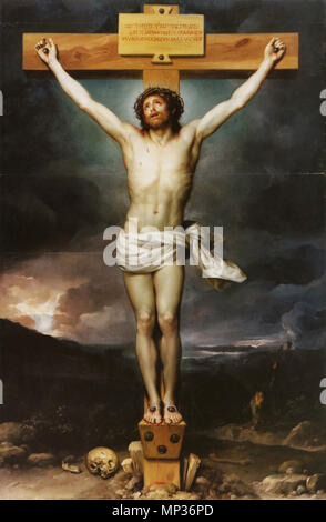 Christ on the Cross .  English: Now in the Palacio Real, Aranjuez, in the former bedroom of King Carlos III. . circa 1765-1768.   884 Mengs, Christus am Kreuz - Stock Photo
