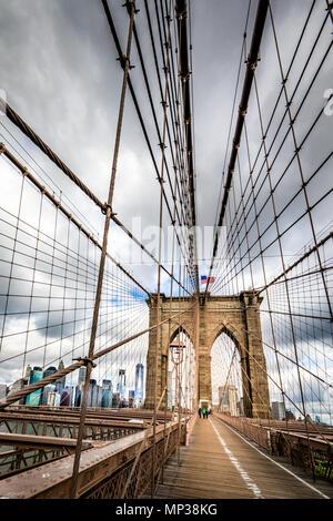 The Brooklyn Bridge in New York City, USA. - Stock Photo