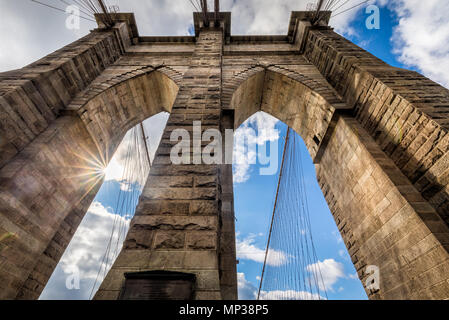 The massive arches of the Brooklyn Bridge in New York City, USA. - Stock Photo