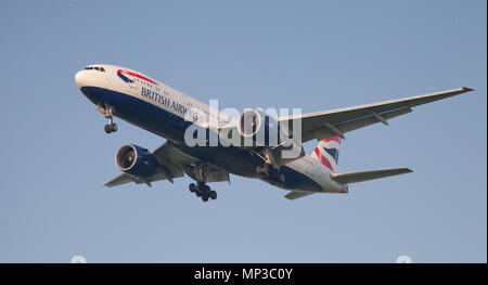 British Airways Boeing 777 G-VIIC coming into land at London Heathrow Airport LHR - Stock Photo