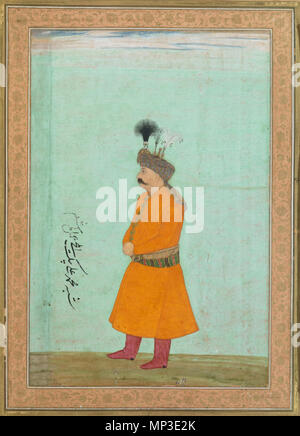 CT8953.tif   Muhammad Ali Beg .  Azərbaycanca: I Şah Abbas tərəfindən Babur dövlətinə göndərilmiş nümayəndə Məhəmməd Əli bəy (1631-1632) English: Muhammad 'Ali Beg was the ambassador sent to the Mughal court by Shah Abbas of Iran, arriving in time for the New Year festival in March 1631. He remained there until October 1632, during which time his portrait was painted by the royal artist, Hashim. The painting is inscribed in Persian 'likeness of Muhammad Ali Beg, ambassador, the work of Hashim', possibly by the Mughal emperor Shah Jahan. It was later mounted on a page with margins decorated wit - Stock Photo