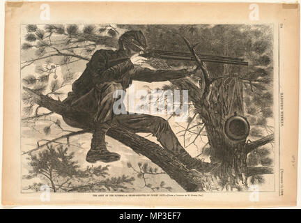 The Army of the Potomac -- A sharp-shooter on picket duty .  English:  File name: 10 09 000062 Genre: Wood engravings; Periodical illustrations Notes: Published in: Harper's Weekly, Volume VI, 15 November 1862, p. 724.; From a painting by W. Homer, Esq.; Signed lower right: Homer. Collection: Winslow Homer Collection Location: Boston Public Library, Print Department Rights: No known restrictions Flickr data on 2011-08-11: Camera: Sinar AG Sinarback 54 FW, Sinar m Tags: Winslow Homer User: Boston Public Library BPL  . 15 November 1862.   1168 The Army of the Potomac -- A sharp-shooter on picke - Stock Photo