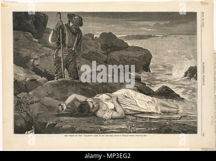 . English:  File name: 10 09 000103 Title: The wreck of the 'Atlantic' -- Cast up by the sea Creator/Contributor: Homer, Winslow, 1836-1910 (artist) Date issued: 1873-04-26 Physical description: 1 print: wood engraving Genre: Wood engravings; Periodical illustrations Notes: Published in: Harper's Weekly, Volume XVII, 26 April 1873, p. 345.; Drawn by Winslow Homer.; Signed: W H. Collection: Winslow Homer Collection Location: Boston Public Library, Print Department Rights: No known restrictions Flickr data on 2011-08-11: Camera: Sinar AG Sinarback 54 FW, Sinar m Tags: Winslow Homer User: Bosto - Stock Photo