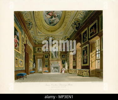 Queen Caroline's Drawing Room, Kensington Palace .  English: A view of Queen Caroline's Drawing Room at Kensington Palace . 1 August 1816.   1035 Queen Caroline's Drawing Room, Kensington Palace, from Pyne's Royal Residences, 1819 - panteek pyn90-161 - Stock Photo