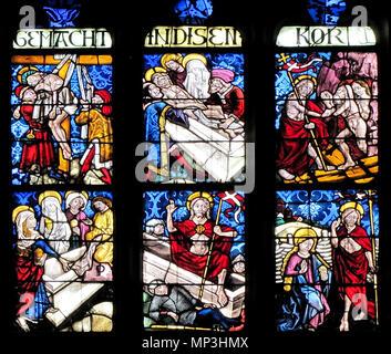 . Alsace, Bas-Rhin, Walbourg, Église abbatiale Sainte-Walburge (PA00085208, IA67008491). Verrière 'St-Jean-Baptiste, Marie et Jésus' (1461): Descente de la croix, Mise au tombeau, Descente aux Limbes, Les Saintes Femmes au tombeau, Résurrection du Christ, Apparition à Madeleine.   This object is classé Monument Historique in the base Palissy, database of the French furniture patrimony of the French ministry of culture,under the referencesIM67008562 and IM67008561. Brezhoneg  Català  Deutsch  English  Español  Suomi  Français  Magyar  Italiano  Plattdüütsch  Português  +/−  . 12 A - Stock Photo