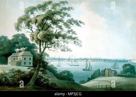 . English: New York seen from Long Island, 1795 . 16 September 2004, 11:08:31.   Archibald Robertson (1765–1835)   Description American painter and engraver  Date of birth/death 8 May 1765 6 December 1835  Location of birth/death Monymusk, Scotland New York state  Work location Aberdeen; London; United States of America  Authority control  : Q17747277 VIAF:62915043 ULAN:500002809 LCCN:n83022720 GND:132745003 RKD:67342 WorldCat 923 New York seen from Long Island, 1795 - Stock Photo