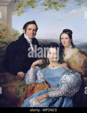 Théodore Joseph Jonet and his two daughters 1192 Théodore Joseph Jonet and his two daughters by François-Joseph Navez (1787-1869) - Stock Photo