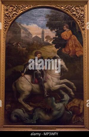 Italian: San Giorgio uccide il drago St. George Killing the Dragon   1525.   960 Paris Bordon - San Giorgio uccide il drago - Palazzi Vaticani, Pinacoteca Vaticana - Stock Photo
