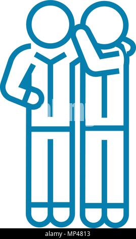 Sharing secrets linear icon concept. Sharing secrets line vector sign, symbol, illustration. - Stock Photo