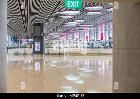 Singapore Changi Airport Terminal 4 is a newly built passenger terminal building at Singapore Changi Airport. - Stock Photo