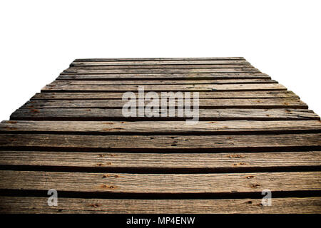 Old wooden bridge with a white background. - Stock Photo