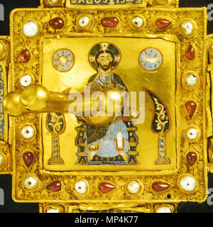 Christ Pantocrator on the Latin part of the Holy Crown of Hungary   11th century.   1176 The Latin Pantokrator on the top of the Holy Crown - Stock Photo