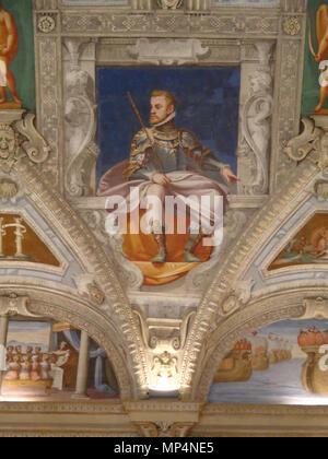 Figura    .   955 Palazzo della Meridiana Salone Cambiaso Figura Carlo V - Stock Photo