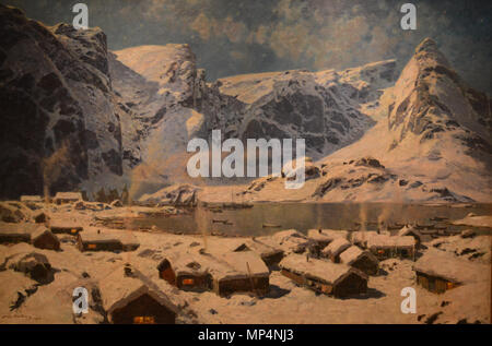 Vinter, Reine i Lofoten . Winter, Reine in Lofoten . 1894.   1123 Sinding-WinterReineInLofoten - Stock Photo