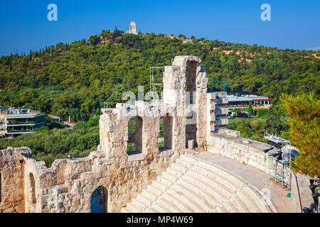 Odeon of Herodes Atticus in Acropolis of Athens - Stock Photo