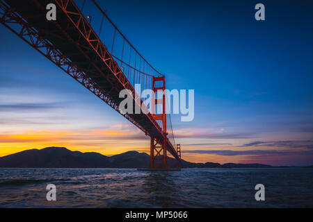 The Golden Gate Bridge at Sunset from Fort Point, San Francisco, California, USA - Stock Photo