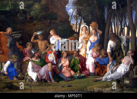 OLYMPUS DIGITAL CAMERA   The Feast of the Gods   between 1514 and 1529.   1173 The Feast of the Gods-1514 1529-Giovanni Bellini and Titian half crop - Stock Photo
