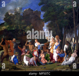 OLYMPUS DIGITAL CAMERA   The Feast of the Gods   between 1514 and 1529.   1173 The Feast of the Gods-1514 1529-Giovanni Bellini and Titian - Stock Photo