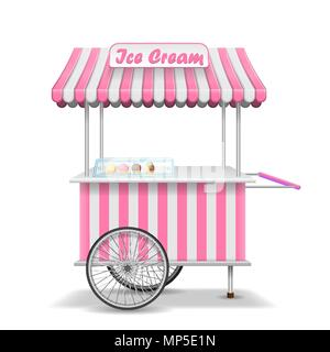 Realistic Street Food Cart With Wheels Mobile Red Market Stall