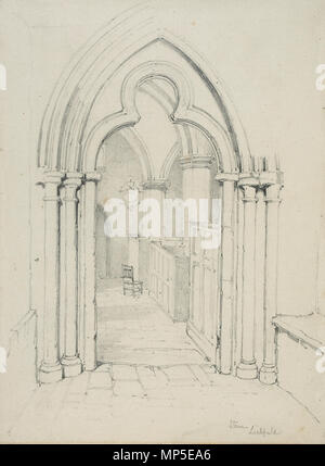 . English: Trefoil-headed south door, St. Chad's church, Stowe, Lichfield, Staffordshire, England Pencil on paper; 180 x 238mm Inscr. br.: Stowe Lichfield Accession: BIRSA:2007X.520 From the Lines family sketchbook, in the collection of the Royal Birmingham Society of Artists, Birmingham, England. See Rediscovering the Lines Family - Exhibition catalogue - 2009. Undated; Nineteenth century. Unattributed member of the Lines family 1146 Lines family sketchbook - Stowe, Lichfield - Stock Photo
