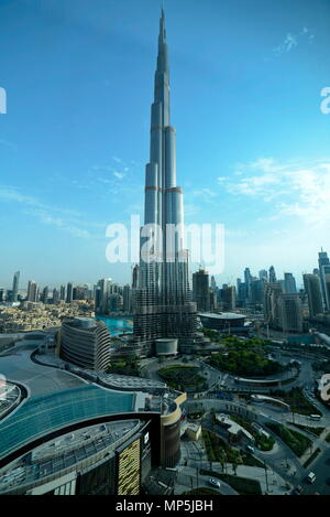 Dubai, United Arab Emirates - May 17, 2018: Sheikh Mohammed Bin Rashid Boulevard, Dubai Mall and Burj Khalifa are known as the Downtown Dubai, the tal - Stock Photo