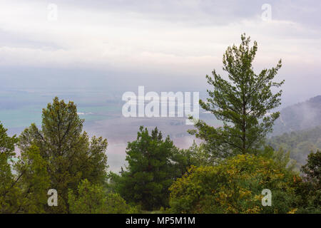 view of the Hula Valley from Hareut Museum in the Upper Galilee in Israel - Stock Photo