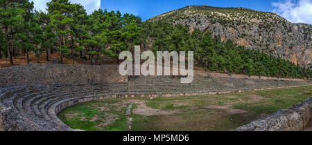 Delphi Town, Phocis - Greece. Panoramic view of the ancient Stadium of Delphi. It lies on the highest spot of the famous Archaeological Site of Delphi - Stock Photo