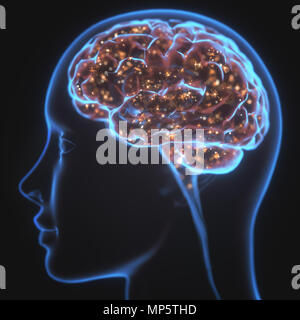 3D illustration. X-ray of the head and human brain in concept of neural connections and electrical pulses. Sparkles inside the brain. Powerful mind. - Stock Photo
