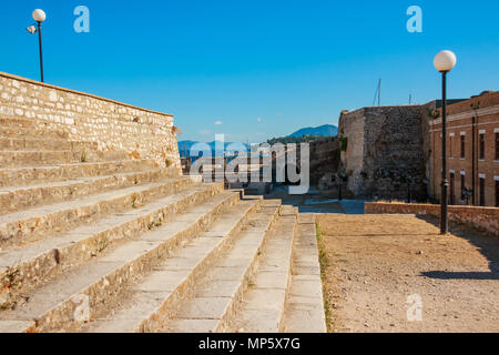 fortress on the island of Corfu, Historic center of Kerkyra town on the island of Corfu in Greece, stone stairs Inside old fortress, Kerkyra - Stock Photo