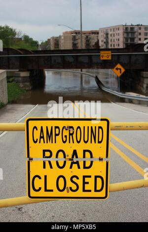 Flooding of the Des Plaines River in Des Plaines, Illinois. - Stock Photo